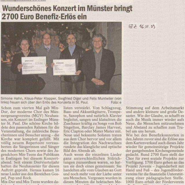 Wunderschönes Benefizkonzert im Münster St. Paul / Esslinger Zeitung vom 16.1.2009
