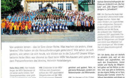 """Artikel über den MGV in der """"Singen 05/2013"""""""
