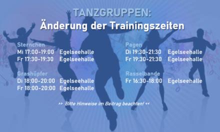 Neue Trainingszeiten der Tanzgarden